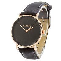 Наручные женские часы Geneva кожзам бронза черный бронза черный