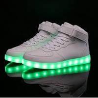 Кроссовки высокие светящиеся White A10