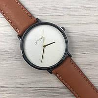 Наручные женские часы Geneva кожзам черный белый золото коричневый