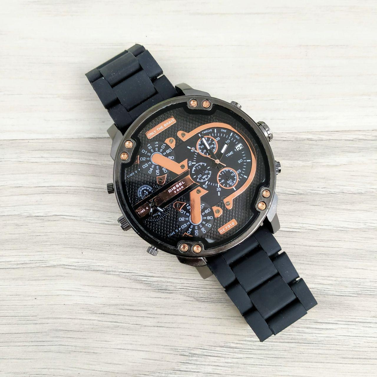 Наручные мужские часы Diesel DZ7314 All Black-Cuprum Silicone