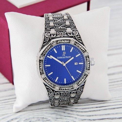 Наручные мужские часы Audemars Piguet Royal Oak Quartz Silver-Blue Skull