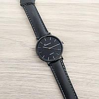 Наручные женские часы Geneva Black-Black-Silver Leather Roman