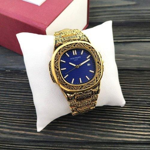 Наручные мужские часы Patek Philippe Nautilus Gold-Blue Skull