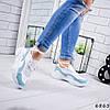 Кроссовки женские Rexta белый + голубой натуральная кожа )), фото 4
