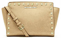 Michael Kors Selma Medium Studded Leath Meressenger Gold