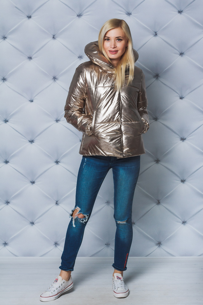 Куртка женская демисезонная на силиконе золото