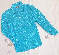 Рубашка-трансформер детская с длинным рукавом и узором. 98 рост, голубая с якорьками