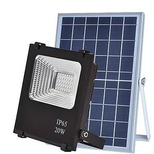 Автономний прожектор LED 20W на сонячній батареї 6000K 840lm IP66 з пультом