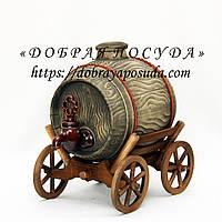 Сувенир Бочка 3,0л (телега) из красной глины