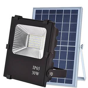Автономный LED прожектор 30W на солнечной батарее 6000K 1260lm IP66 с пультом