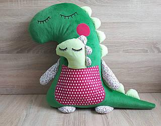 Мягкая игрушка-подушка ручной работы Мама Динозавр с динозавриком