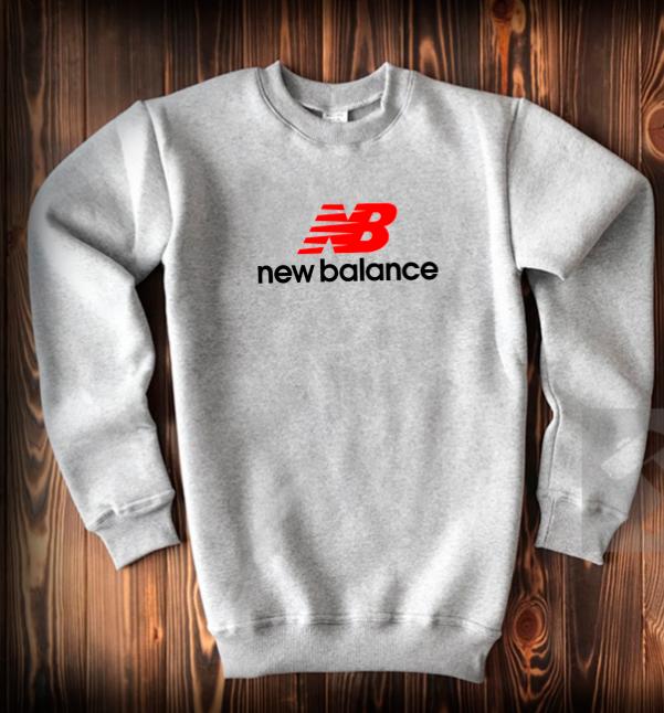 Свитшот серый New Balance с красно-черным логотипом топ-реплика