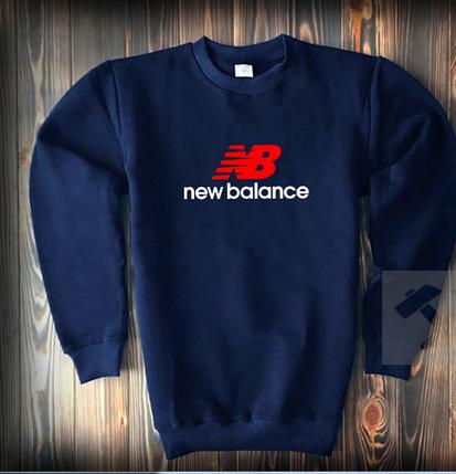 Свитшот цвета нави New Balance с бело-красным логотипом топ-реплика, фото 2