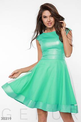 Нарядное платье мини пышное с фатином рукав короткий крылышки зеленого цвета, фото 2
