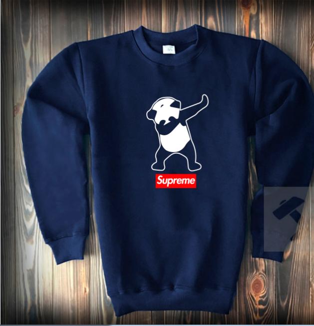 Свитшот цвета нави Supreme панда топ-реплика