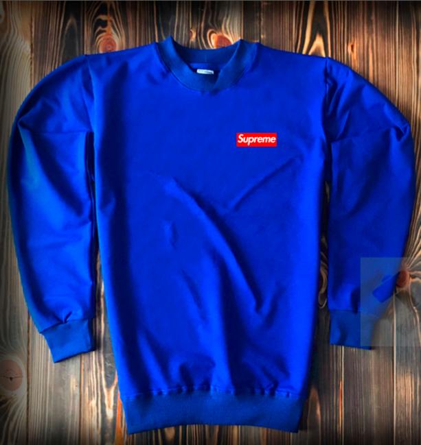Свитшот ярко-синий Supreme красный логотип топ-реплика