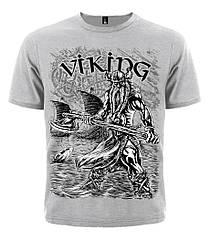 Серая футболка Viking (меланж), Размер S
