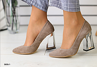 Туфли Лодочка замшевые бежевые на металлическом каблуке, фото 1