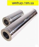 Труба дымохода нержавеющая сталь 0,5 мм, в нержавеющем кожухе,диаметр100/200мм