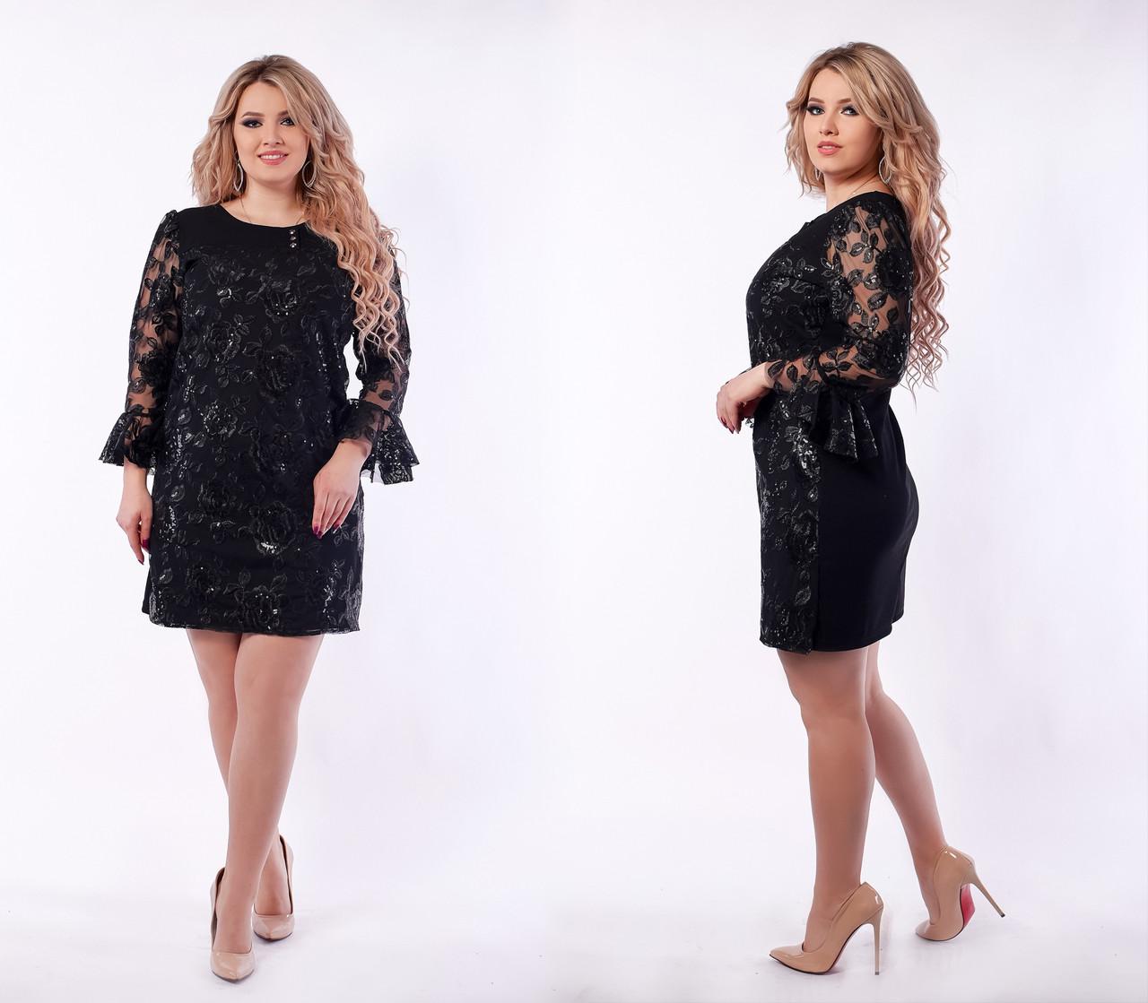 d3ff9d6c5932ee2 Вечернее платье женское Креп дайвинг и сетка с вышивкой Пайетки Размер 50  52 54 56 58