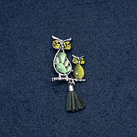 """Брошь """"Ночные совы"""" зеленый кошачий глаз 50х25мм серия птицы цвет металла """"серебро"""""""