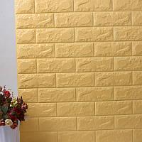 Декоративная стеновая 3Д панель самоклейка под кирпич бежевая 77*70 см 7 мм NNDesign