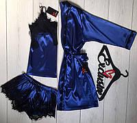 Красивая одежда для сна и дома, шелковый комплект тройка., фото 1
