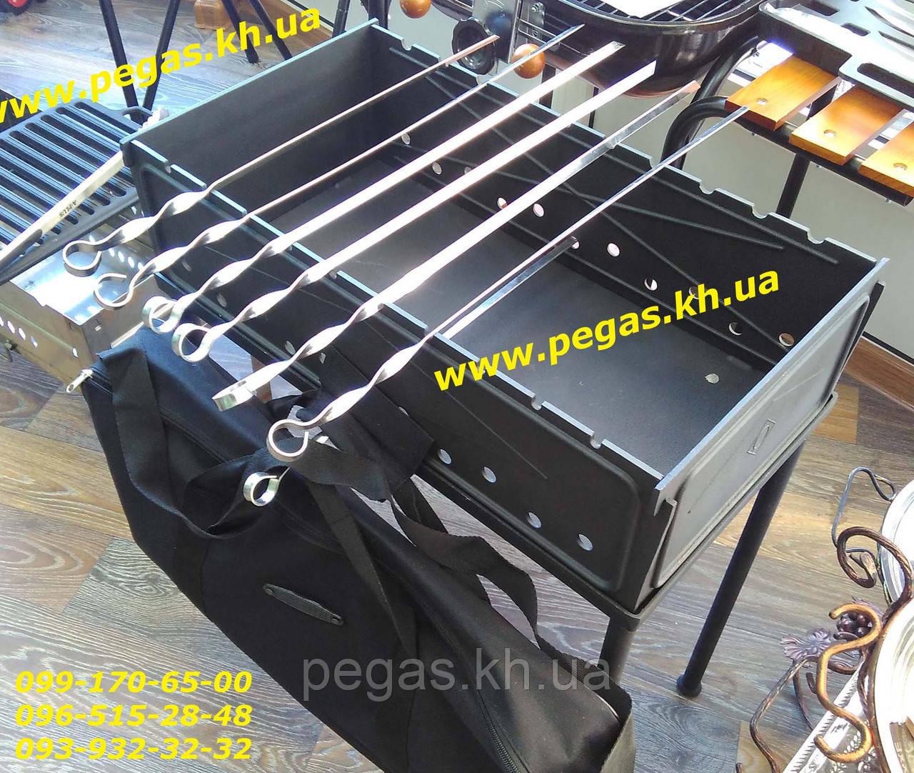 Мангал чугунный разборной с чехлом 55х30х18 см. гриль, барбекю