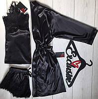 Черный шелковый комплект халат+пижама 090-033.