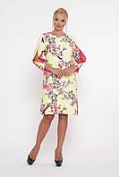/ Размер 48 / большие размеры / Женское шикарное платье прямого покроя  Нэнси сакура отделка желтая