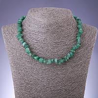 Бусы натуральный камень Нефрит крошка d-8мм L-45-50см с удлинительной цепочкой