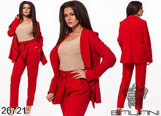Женский брючный костюм красный Большого размера