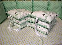 Подушки бортики в кроватку ( хлопок ткань+ плюш)