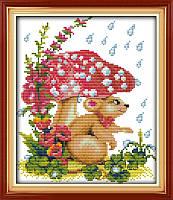 Картина вышивка крестом Идейка Мышка под грибком (ide_D115) 31 х 35 см
