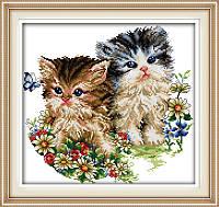 Картина вышивка крестом Идейка Котята и цветы (ide_D190) 36 х 34 см