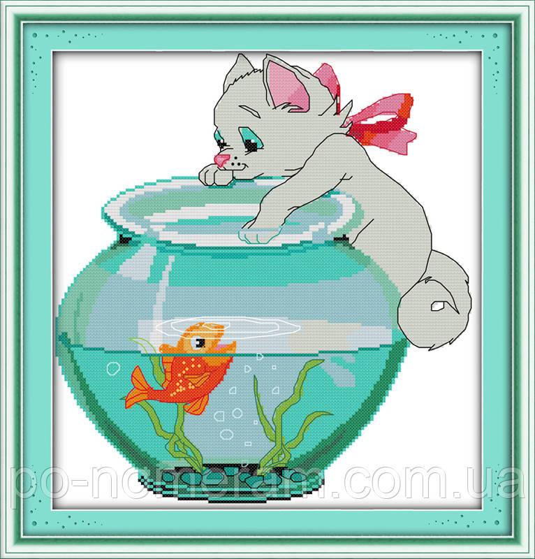 Набор для вышивания Идейка Котик и рыбка (ide_D193) 35 х 36 см