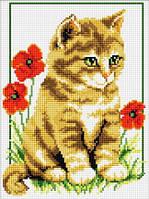 Картина вышивка крестом Идейка Котик в цветах (ide_D304) 27×37 см