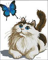 Набор для вышивания Идейка Кот и бабочка (ide_D370) 46×56 см