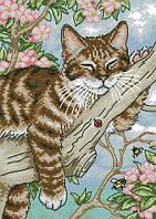 Набор для вышивки Идейка Кот на отдыхе (ide_D406) 28×39 см