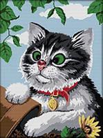 Картина вышивка крестом Идейка Игривый котик (ide_D445) 47×61 см