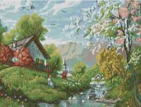 Вышивание крестиком Идейка Живописная деревня (ide_F384) 54×42 см