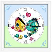 Набор для вышивки Идейка Часы. Поцелуй рыбок (ide_G007) 31 х 31 см