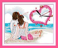 Вышивка крестиком Идейка Часы. Любовь у моря (ide_G099) 40 х 34 см