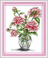 Набор для вышивания Идейка Пионы в стеклянной вазе (ide_H026) 26 х 29 см