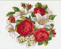 Картина вышивка крестом Идейка Розы и лилии (ide_H095) 33×33 см