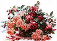 Картина вышивка крестом Идейка Корзинка с розами (ide_H317) 50×42 см