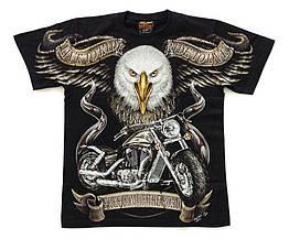 Футболка Орел с мотоциклом (Harley-Davidson) светится в темноте, Размер S