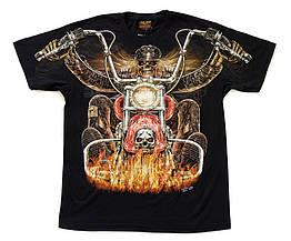 Футболка Смерть на мотоцикле (Hell Rider) светится в темноте, Размер M