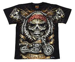 Футболка Череп с мотоциклом (Born to Ride) светится в темноте, Размер S