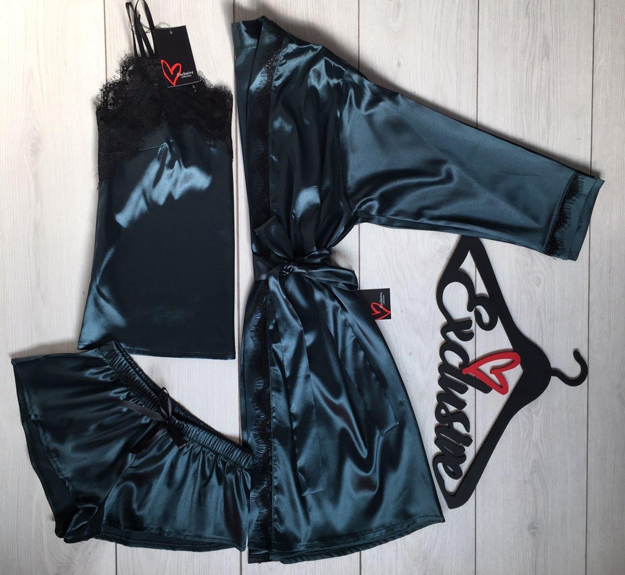 Изумрудный домашний комплект тройка, шелковая одежда для дома.